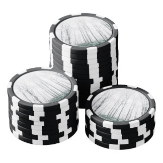Snowy forest poker chip set