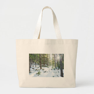 Snowy Forest Wilderness Playground Large Tote Bag