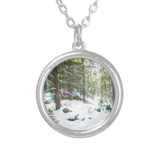 Snowy Forest Wilderness Playground Silver Plated Necklace