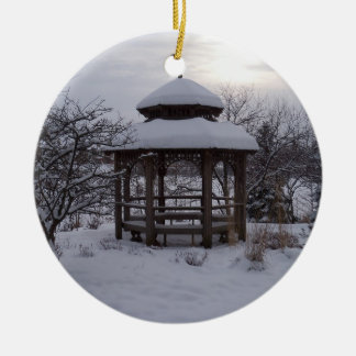 Snowy Gazebos Ceramic Ornament