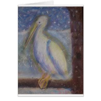 Snowy Glowy Pelican Card
