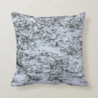 Snowy Grass Throw Pillow