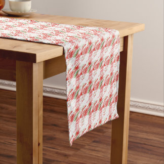 Snowy Green, White, Red Plaid Table Runner