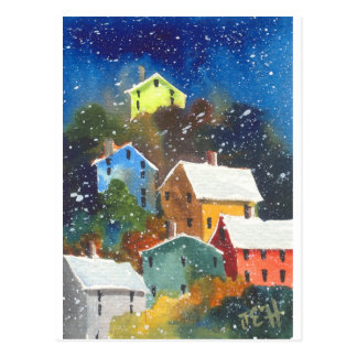 Snowy Hillside Houses Postcard