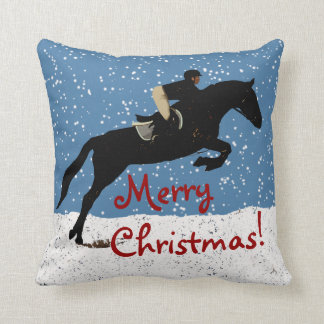 Snowy Horse Jumping Christmas Throw Pillow