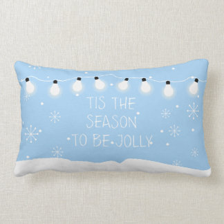 Snowy House & Snowman Christmas Holiday Pillow