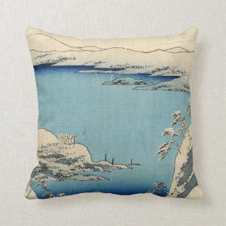 Snowy Japanese Illustration Throw Pillow