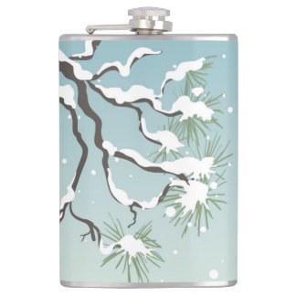 Snowy Japanese Pine 8 oz Vinyl Wrapped Flask