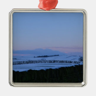 Snowy Landscape In Yorkshire At Dawn Silver-Colored Square Ornament