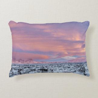 Snowy Lava field landscape, Iceland Decorative Pillow