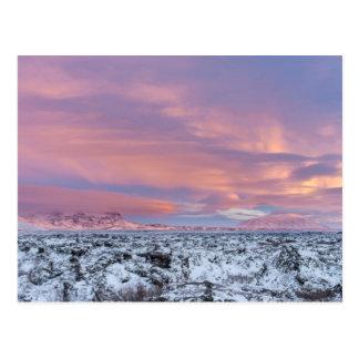 Snowy Lava field landscape, Iceland Postcard