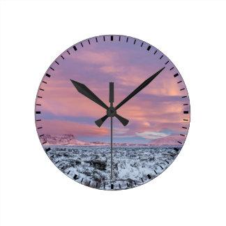 Snowy Lava field landscape, Iceland Round Clock
