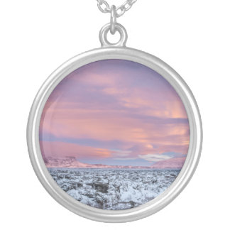 Snowy Lava field landscape, Iceland Silver Plated Necklace