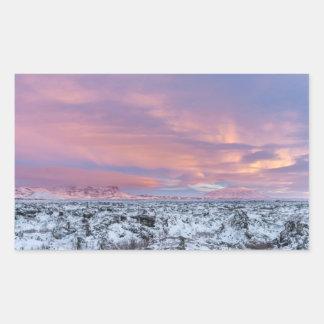 Snowy Lava field landscape, Iceland Sticker