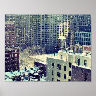 Snowy Manhattan Poster