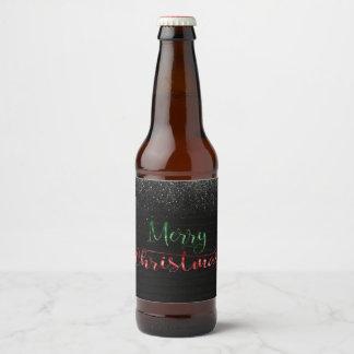Snowy Merry Christmas Beer Bottle Label