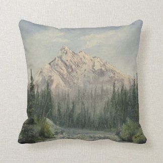 Snowy Mountain Landscape Throw Pillow