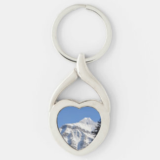 Snowy Mountain Silver-Colored Twisted Heart Keychain
