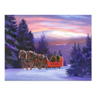Snowy Mountain Sleigh Ride Postcard