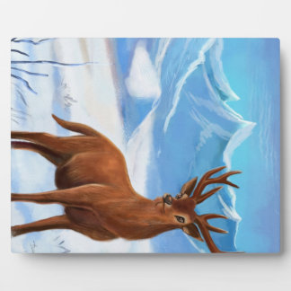 Snowy Mountain with a cartoon deer Plaque