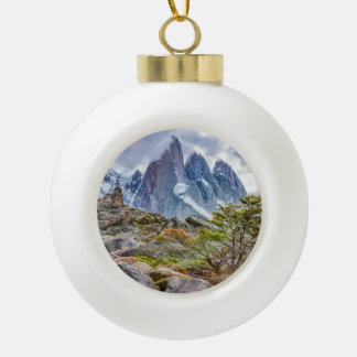 Snowy Mountains at Laguna Torre El Chalten Argenti Ceramic Ball Christmas Ornament