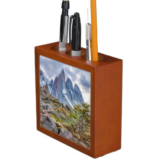 Snowy Mountains at Laguna Torre El Chalten Argenti Desk Organizer