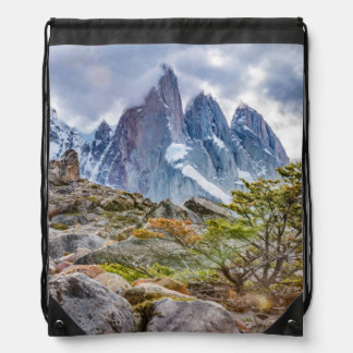 Snowy Mountains at Laguna Torre El Chalten Argenti Drawstring Bag