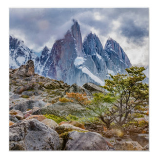 Snowy Mountains at Laguna Torre El Chalten Argenti Poster