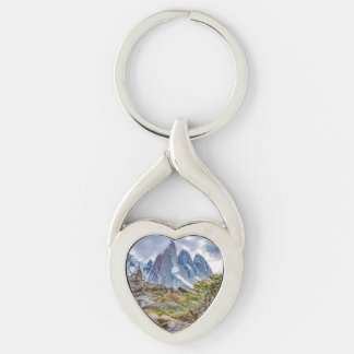 Snowy Mountains at Laguna Torre El Chalten Argenti Silver-Colored Twisted Heart Keychain
