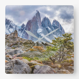 Snowy Mountains at Laguna Torre El Chalten Argenti Square Wall Clock