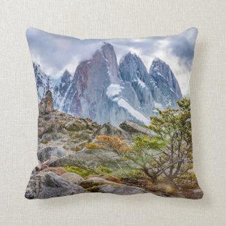 Snowy Mountains at Laguna Torre El Chalten Argenti Throw Pillow