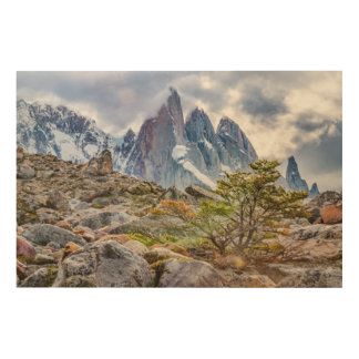 Snowy Mountains at Laguna Torre El Chalten Argenti Wood Wall Decor