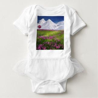 snowy mountains baby bodysuit