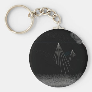 Snowy Mountains Basic Round Button Keychain