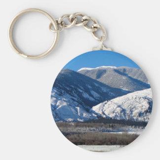 Snowy Mountains in BC Canada Basic Round Button Keychain
