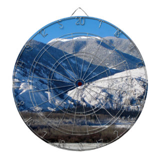 Snowy Mountains in BC Canada Dartboard With Darts