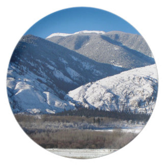 Snowy Mountains in BC Canada Plate