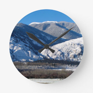 Snowy Mountains in BC Canada Round Clock