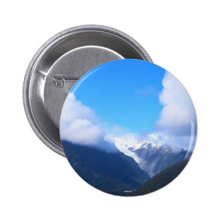 Snowy Mountains, New Zealand Glacier, Aerial View 2 Inch Round Button
