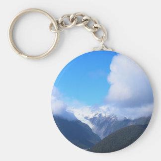 Snowy Mountains, New Zealand Glacier, Aerial View Basic Round Button Keychain