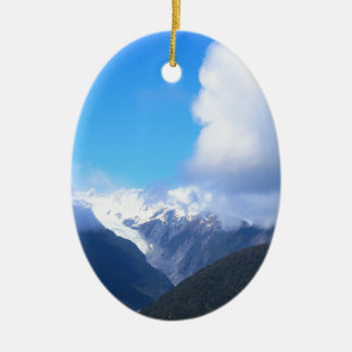 Snowy Mountains, New Zealand Glacier, Aerial View Ceramic Oval Ornament