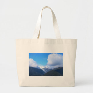 Snowy Mountains, New Zealand Glacier, Aerial View Large Tote Bag