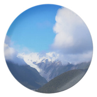 Snowy Mountains, New Zealand Glacier, Aerial View Plates