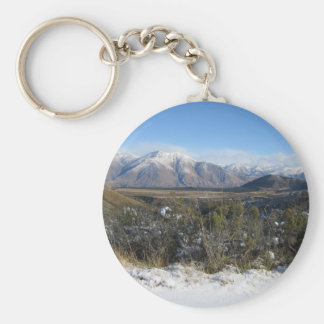 Snowy Mountains photo keychain