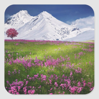 snowy mountains square sticker