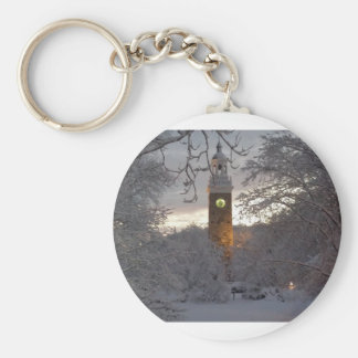 Snowy New England Clock Tower Basic Round Button Keychain