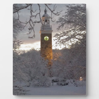 Snowy New England Clock Tower Plaque