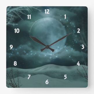 Snowy Night Sparkly  Wall Clock