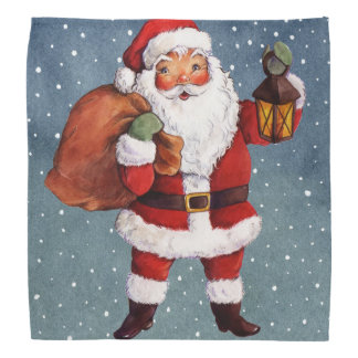 Snowy Night Watercolor Santa Bandana