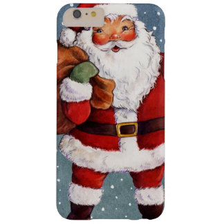 Snowy Night Watercolor Santa Barely There iPhone 6 Plus Case